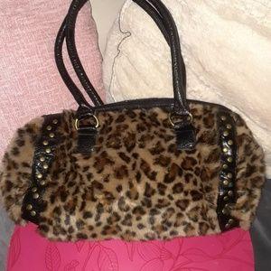Bueno Faux Fur Cheetah Studded Bag